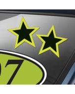 Bright Green and Black Die Cut Star Decal Stickers on auto windshield