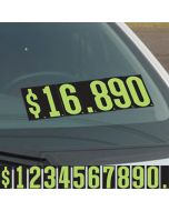 """green and black 9.5"""" vinyl pricer numbers kit on vehicle windshield"""
