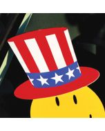 Patriotic Hat Decal Sticker over Smiley Face Sticker on vehicle windshield
