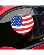 Patriotic Heart Decal Sticker on vehicle windshield at auto dealership