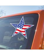 Patriotic Star Decal Sticker on vehicle windshield at auto car lot