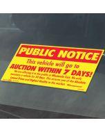 Public Notice Sticker on vehicle in auto dealership