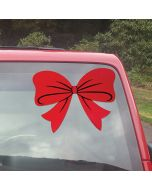 Red Holiday Bow Decal on vehicle at auto dealership
