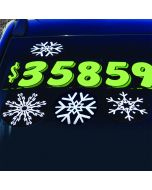 Snowflake Decals on vehicle at auto dealership