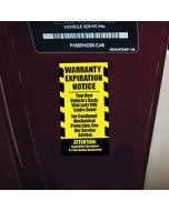 Stickers: Warranty Expiration Notice inside vehicle door at an auto dealer lot