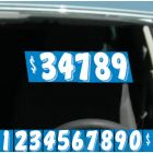 """Blue and White 7.5"""" vinyl windshield number pricer kt on auto windshield"""