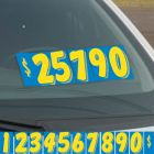 """Blue and Yellow 7.5"""" vinyl windshield number pricer kit"""
