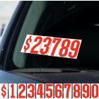 """Red & White 5.5"""" vinyl windshield number pricer kit"""