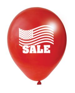 Balloons: 17 inch Jumbo imprinted red white flag patriotic SALE
