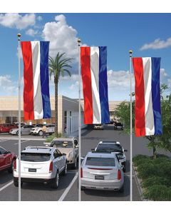 Solid Color 3' x 8' Flags without Sleeves on poles above auto dealerhsip