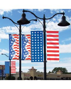 America Forever Drape Flags on a pole over an auto dealership