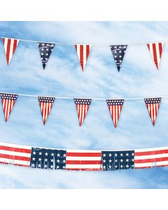 Americana Pennants and Streamers USA flag stars and stripes in the sky