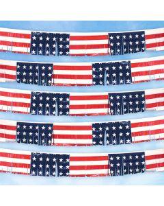 US Flag red white blue Pennant Strings Fringe