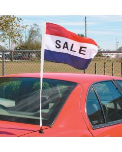 Red White and Blue stripe Sale Antenna Pennant on vehicle at car lot