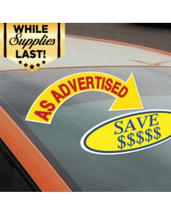 Arrow Slogans red-yellow on a vehicle with an oval slogan