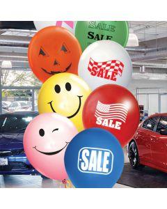 Imprinted 17 inch Jumbo Balloons yellow smiley pink wink blue sale red flag green sale white ribbon orange jack-o-lantern black friday