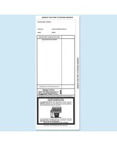 Black 3 side tape Addendum Stickers 100 Per Pack