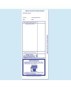 Blue 3 side tape Addendum Stickers 100 Per Pack