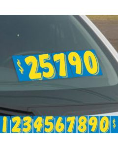 Blue & Yellow vinyl windshield number pricers kit on vehicle windshield at auto dealer