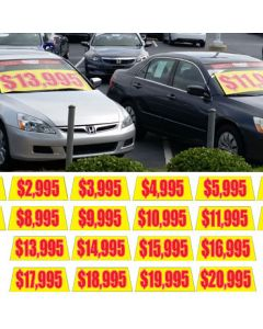 Windshield Banner Pricer: Yellow/Red on vehicle windshield at an auto dealer lot