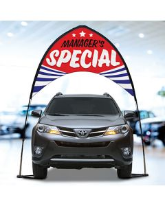 Arch Banner Kit over a vehicle at an auto dealership managers special