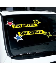 Bright Stars Stickers on vehicle black green border black yellow border red white border blue white border colors