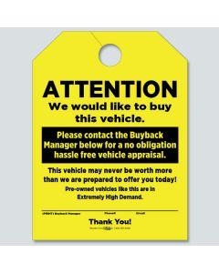 Hang Tags: Vehicle Buy Back Yellow