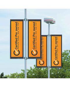 CPOV orange Vinyl Flag on pole in auto dealership