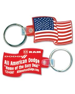 Custom Full Color Soft Vinyl Key Fobs: USA Flag