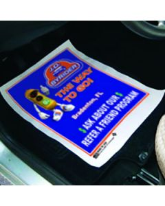 Full Color Custom Printed Floor Mat full color on the floor of a vehicle in a service department of an auto dealership