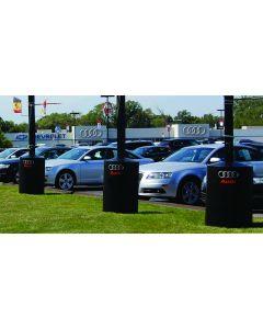 Custom Poletector 360 around poles at an auto dealership