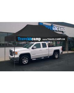 Custom Tent 10x15 digital over a truck at an RV dealership