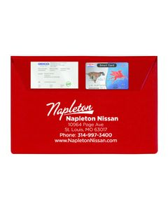 Standard Vinyl Document Folder with business cards inserted in card sleeves