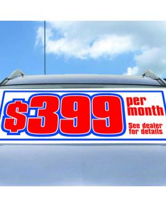 Custom Windshield Banner on a vehicle at an auto dealership