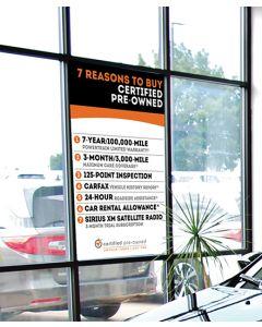 Custom Stay-Put Messages on auto dealership window
