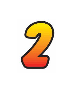 """6.5"""" Yellow Red fade #2 die cut windshield numbers"""