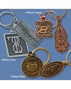 Die Cast Metal Key Fobs Antique Copper, Antique Silvertone, Antique Brass