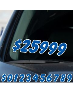 """6.5"""" Blue & White die cut windshield numbers kit on car window at auto dealer"""