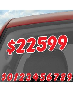 """6.5"""" Red & White die cut windshield numbers kit on auto window at car dealer"""