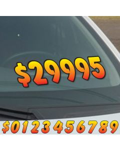 """6.5"""" Yellow Red fade die cut windshield numbers on vehicle windshield at car lot"""