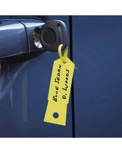 Economic ID Tag on a key in the ignition of a vehicle in an auto dealership