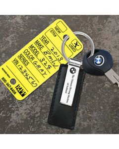 Poly Key Tags on a key ring with a vehicle key at an auto dealer