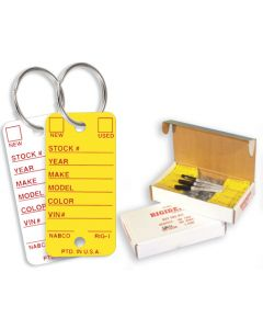 Rigidene Key Tags with Rings yellow white in a box