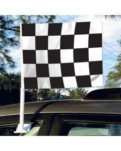 Clip On Car Window Flags: Economy Checkered black white