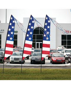Stars and Bars Feather Flags in front of vehicles at an auto dealership