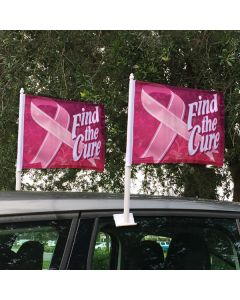 Exclusive Car Window Flags: BCA Find the Cure on vehicle windows in an auto dealership lot