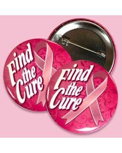 """Breast Cancer Awareness: """"Find the Cure"""" Button with full safety pin attachment"""