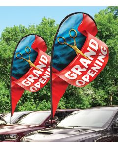 3D Paddle Flags on cars at auto dealership grand opening