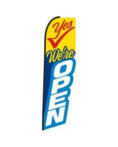Yes We're Open Die-Cut Swooper Flag