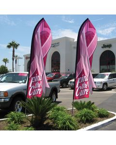 FIND THE CURE Die-Cut Swooper Flag at auto dealership